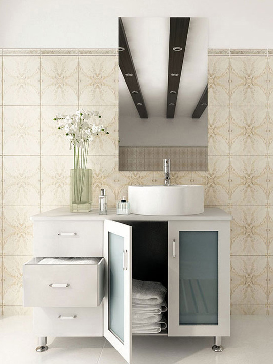 39 inch Vessel Sink Bathroom Vanity Solid Wood Top White Finish
