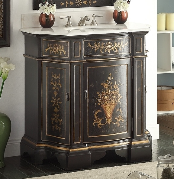 36 inch Adelina Antique Hand Painted Vintage Black Finish Bathroom Vanity